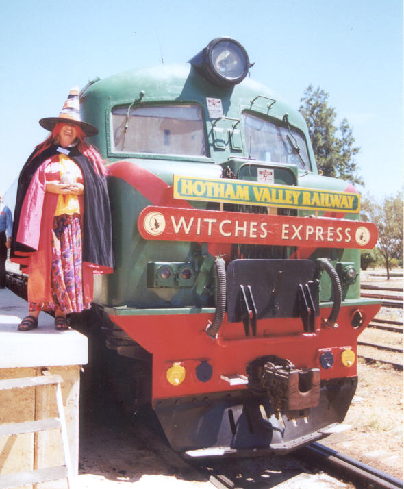 Ezmarelda Jones - sister of Casimus Jones with her favourite locomotive